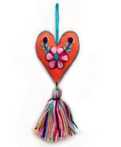 embroidered orange heart - bella aborigen
