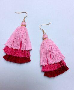 aretes escobita rosa